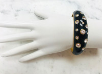 Crystal And Black Enamel Hinged Bangle