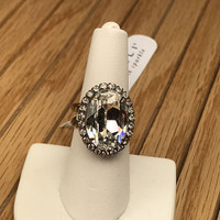 Sorrelli's Oval Cut Crystal Ring