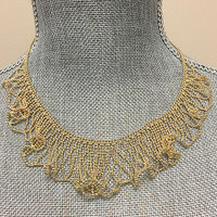 Gold Beaded Wave Necklace