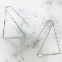Silver Polished Triangle Ear Wires