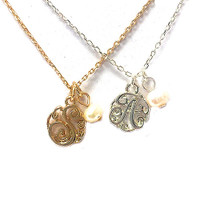 Mini Pearl Initial Monogram Necklaces