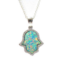 Green Opal Hamsa C.Z. Necklace 1