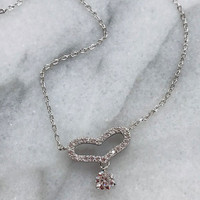 Open Pave Heart with a C.Z. Dangle