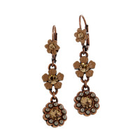 Copper Earring with Flowers and Pearls