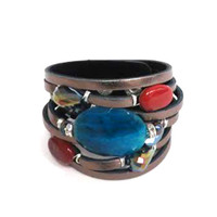 Semi-Precious Stones, Crystals and Leather Cuff