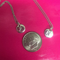 Sterling Silver Mini Engraved Initial Monogram Necklace