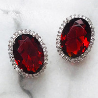 Faceted Ruby Red Crystal Oval Earring