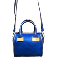 Sondra Roberts' Mini Hair calf Satchel In Blue