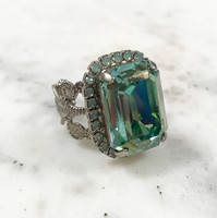 Large Light Teal Swarovski Emerald Cut Ring