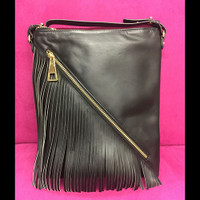 Sondra Roberts Diagonal Fringe & Zipper Cross Body