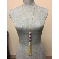 Long Tassel and Stone Necklace Pink