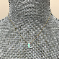 White Opal Initial Letter Necklace