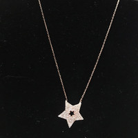 Cubic Zirconia Rose Gold Silver Star Necklace