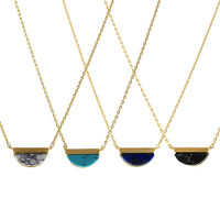 Half Inch, Half Moon Turquoise Necklace