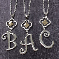 Large Initial Pendant Necklace
