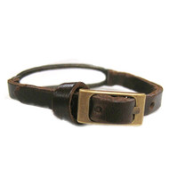 Horizontal Oval with Leather Bracelet