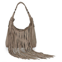 Taupe Suede Fringe Hobo by Sondra Roberts