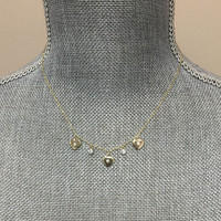 Triple Heart and Cubic Zirconia Station Necklace in Gold
