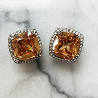 Topaz Cushion Cut Square Button Earring