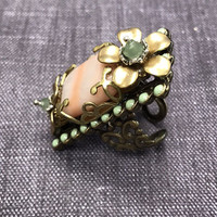 Elongated Coral with Flowers Ring