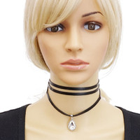 Black Leather Wrap Choker With Large Crystal Drop