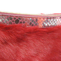Sondra Roberts Faux Fur and Python Hobo Red