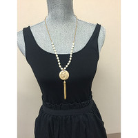 "Long 27"" Monogram Initial Pearl and Tassel Necklace"