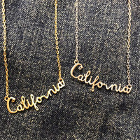 California Script Necklace