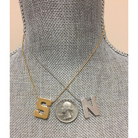Polished Gold Block Initial Necklace