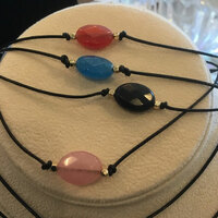 Single Semi Bead Leather Cord Choker