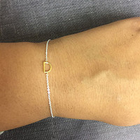 Petite Gold Initial on Silver Chain Bracelet