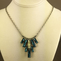 Sorrelli's Montana & Champagne Crystal Baguettes Necklace