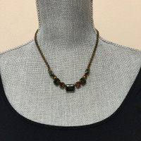 Sorrelli Green Tapestry Olivine and Amber AB Crystal Necklace