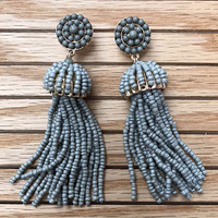 Large Gray Beaded Tassel Earring
