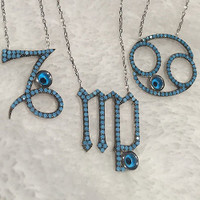 Sterling & Turquoise Zodiac Sign Necklace