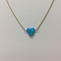 Opal Heart Charm Necklaces