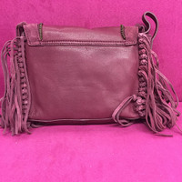 Sondra Roberts Burgundy Suede Fringe Cross Body
