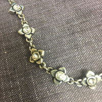 Antiqued Silver Flower Chain Choker