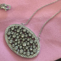 Unique Oval Cubic Zirconia Cluster Necklace