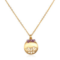 Birthstone Lotus Necklace