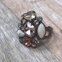 Sorrelli Apricot and Autumn Crystal Cluster Ring