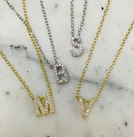 Perfect Lil Cubic Zirconia Slide Initial Necklace