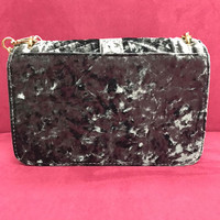 Slate BlueGray Crushed Velvet Quilted Shoulder Bag