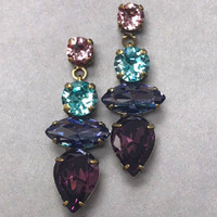 Sorrelli Amethyst,Tanzanite, Lavender & Teal Crystal Dangle