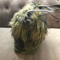 Diamond Quilted Faux Fur Green Tote
