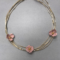 Lotus Bloom Layered Collar Necklace