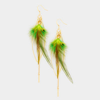 Elongated Feathers with Chains Earring
