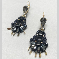 Black/Blue Hand Beaded Drop Earring