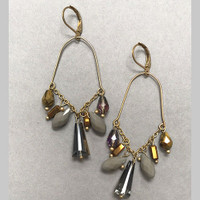 Tri-Colored Crystal Chandelier Earring