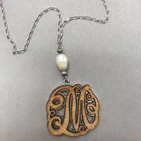 Long Wood Carved & Pearl Initial Necklaces